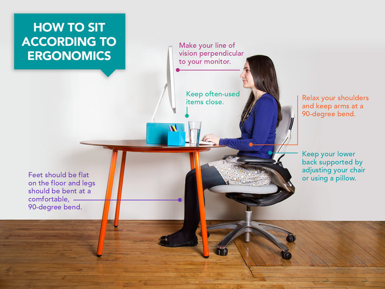 how to sit in the correct posture in front of a computer